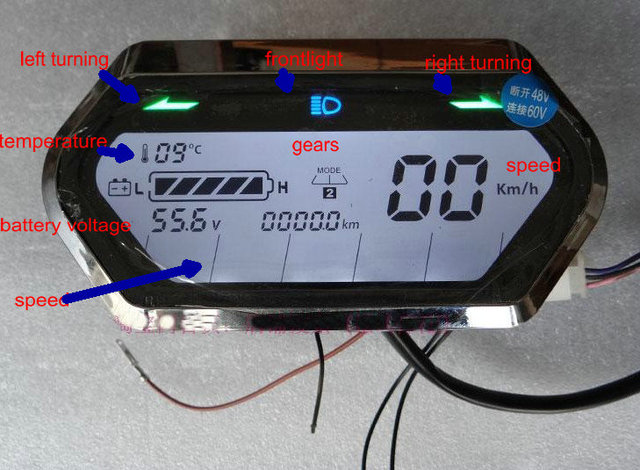 Speedometer Light Display Battery Level Indicator Lcd
