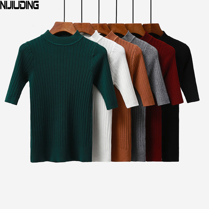 NIJIUDING 2019 New knitted Slim Pullover Women Turtleneck Knitted Sweater Shirt Female All-match Basic Half Sleeve Tops Clothing