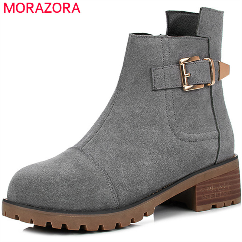 MORAZORA 2018 Large size 34-43 ankle boots for women spring autumn leather boots fashion shoes woman cow suede zip buckle morazora ankle boots for women fashion shoes woman cow suede leather boots solid zipper platform womens boots size 34 40