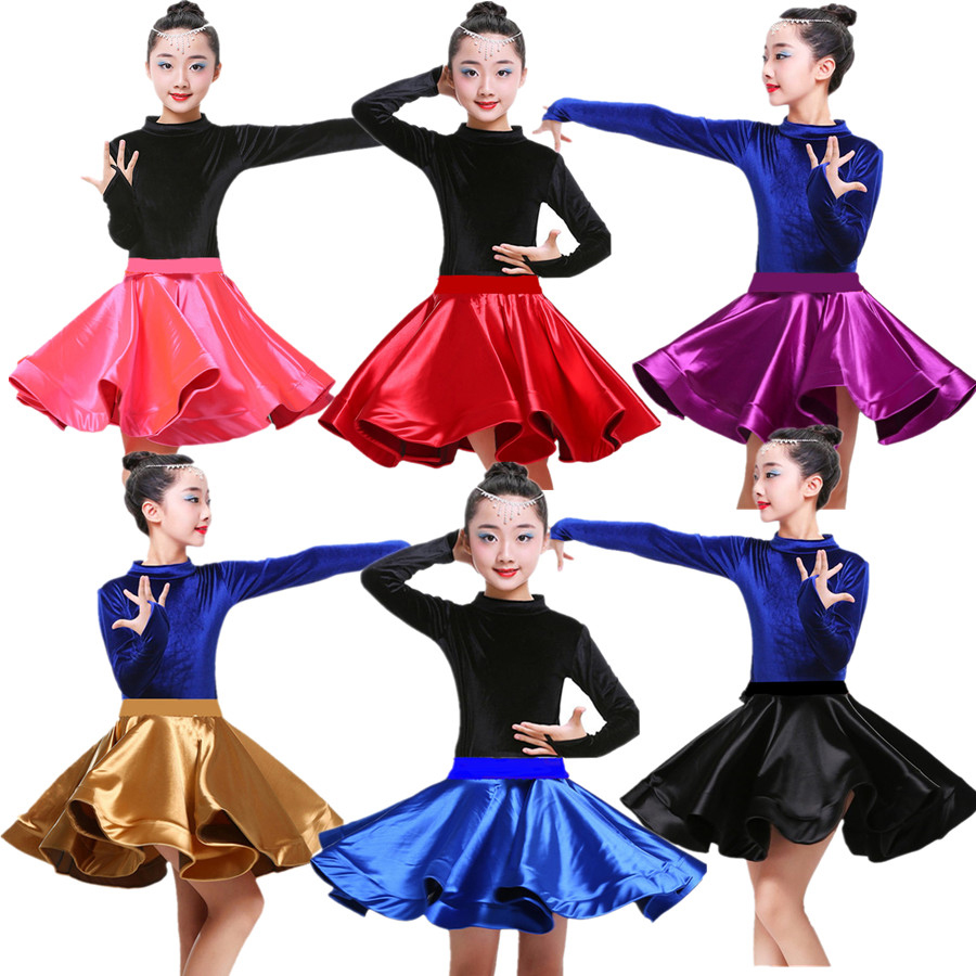 New Kids Girls Velvet Latin Dance Dresses Gymnastics Dancewear Tango Salsa Costume Big Circle Ballroom Skirt For Girls