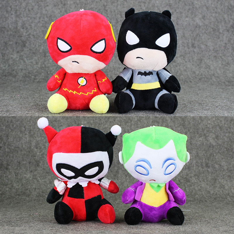 20cm 4Styles America Plush Toys The Flash Batman Harley Quinn The Joker Soft Stuffed Dolls