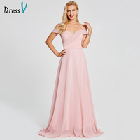 Dressv Pink Off The Shoulder Long Evening Dress Cheap A Line Sleeveless Wedding Party Formal Dress