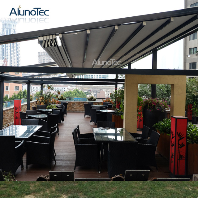 Motorized Waterproof PVC Retractable Roof Pergola 4m width x 4m projection  x 3m height - Motorized Waterproof PVC Retractable Roof Pergola 4m Width X 4m