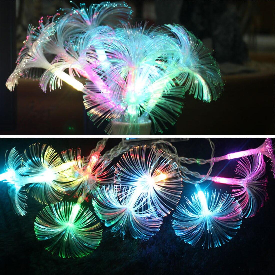 1pc Colorful Fiber Optic String Light 2.5M Holiday Christmas Decoration Lamp Trumpet Festival Lamp Holiday Light LED Night Light