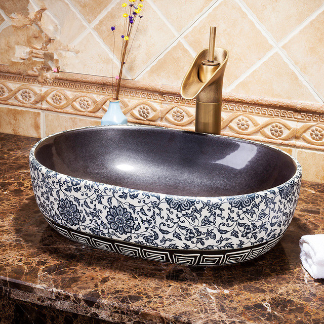 Oval Handmade Primitive Style Stone Like Porcelain Countertop Lavabo Bathroom Sink Wash Basin Deep