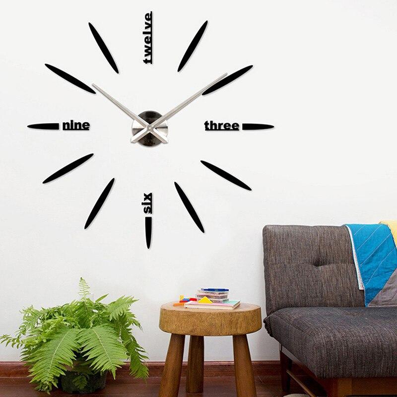Hot Sales Factory Price! Quartz DIY Modern Clocks Needle Acrylic Watches Big Wall Clock Mirror Sticker Living Room Decor