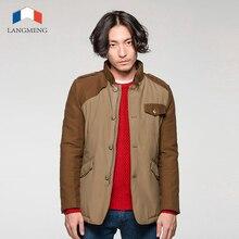 Langmeng 2015 горячие продажа мужчины зима теплая пальто бренда мужчин пиджаки толстые casaul пальто куртки стенд воротник стильный ветрозащитный для мужчины