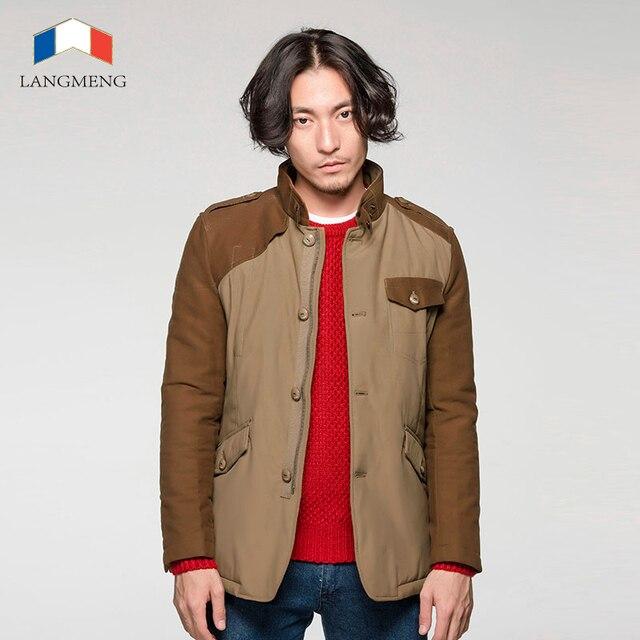 Langmeng 2015 venda quente homens casaco de inverno quente dos homens da marca outwear grosso casaul casacos jaqueta gola elegante à prova de vento para homens