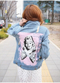 Free Shipping 2016 Fashion Jackets new slim Denim Jackets female personality printing wild thin hole Outwear Jeans Coat