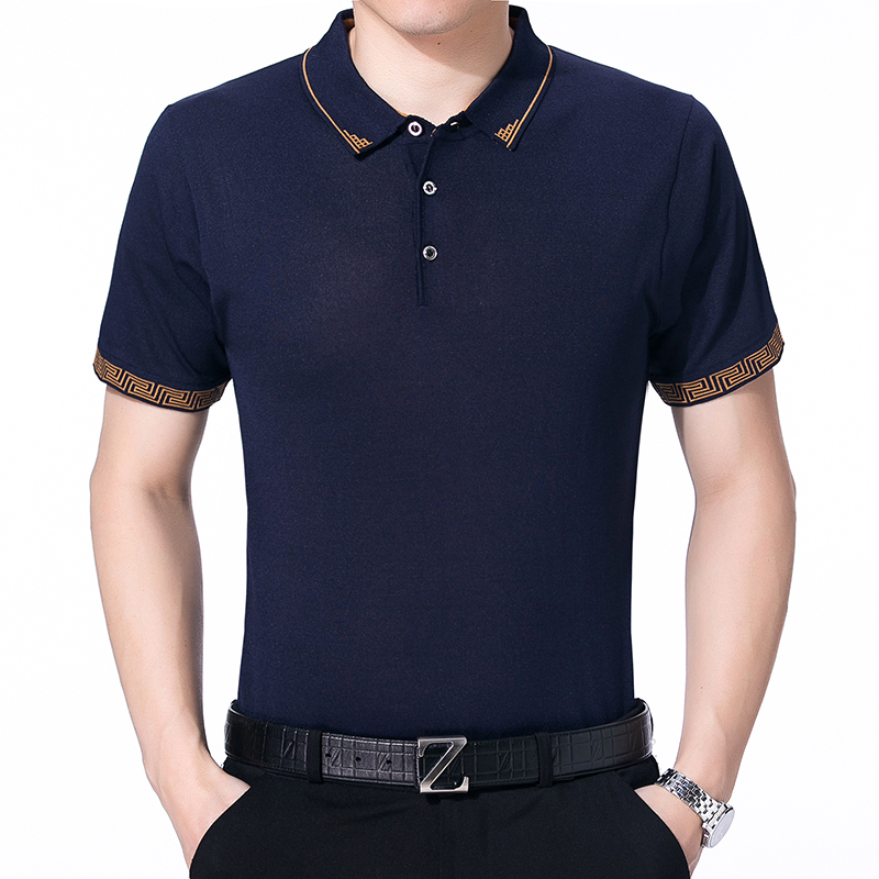 2018 summer   polo   homme business   polo   shirt men's summer short-sleeved shirt knit lapel