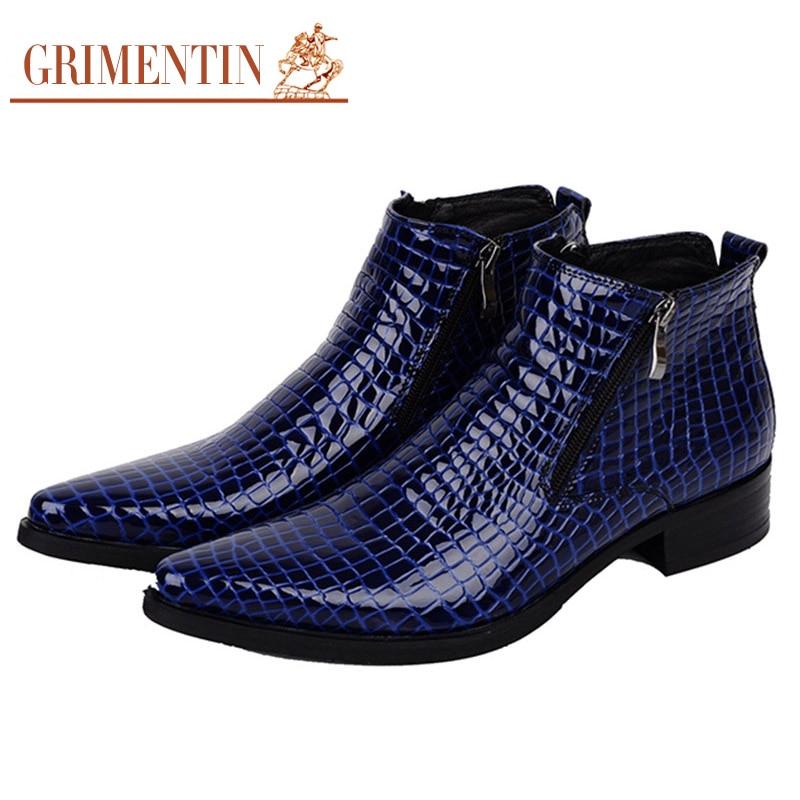 Popular Blue Leather Boots Men-Buy Cheap Blue Leather Boots Men ...
