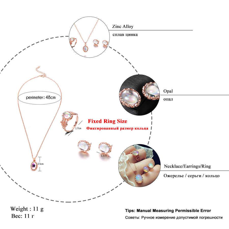 RAVIMOUR Cưới Trang Sức Set Opal Đá Nhẫn Bông Tai Stud cho Phụ Nữ Màu Vàng Hàn Quốc Choker Dây Chuyền & Mặt Dây Đảng Quà Tặng