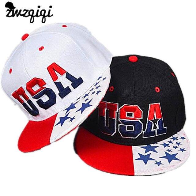 2018 Nova Bandeira Americana Snapback Chapéus Marca EUA Carta Algodão Bones  Gorras Hip hop Snapback Tampões 29f719c4c05