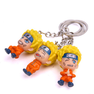 Image 2 - Anime Uzumaki Naruto action toy figure Kakashi Ninja Keychain Japan Konoha Ninja Village Enamel KeyRing men car key Bag Pendant