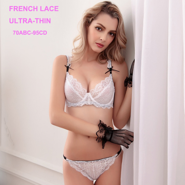 Transparent Bra Ultra-thin Lace Sexy Bra and Panty Sets VS Womens Underwear  French Lingerie Set Plus Size 70D 90D 95D White Bras bc1cfb40c