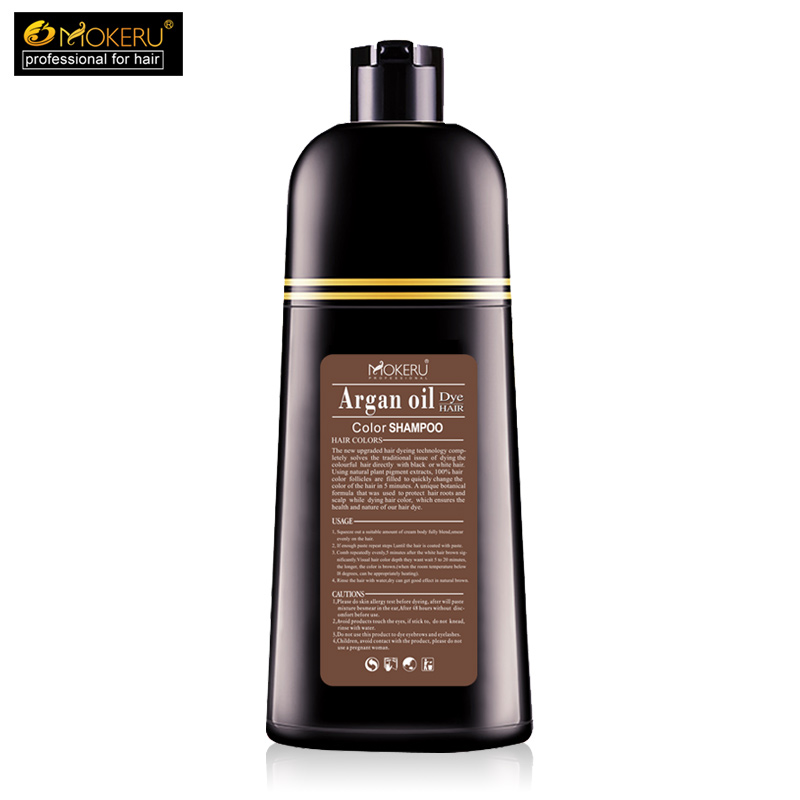 Image 3 - 1pc 500ml Mokeru organic hair dying good effect long lasting argan oil hair dye shampoo for cover gray hair-in Hair Color from Beauty & Health