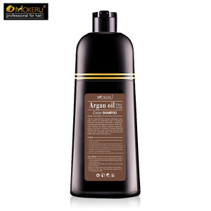 Image 3 - 1pc 500ml Mokeru organic hair dying good effect long lasting argan oil hair dye shampoo for cover gray hair