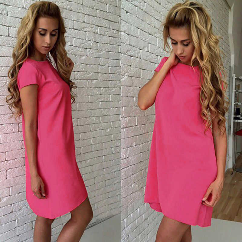 2019 여성 뉴 여름 패션 캐주얼 루즈 드레스 미니 T 셔츠 솔리드 오 넥 반팔 우아한 섹시 파티 Feminina Vestidos