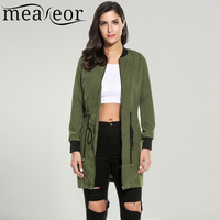 Meaneor Ladies Bomber Jackets Fashion And Retro Baseball Coat Women Students Long Sleeve Jacket Solid Basic