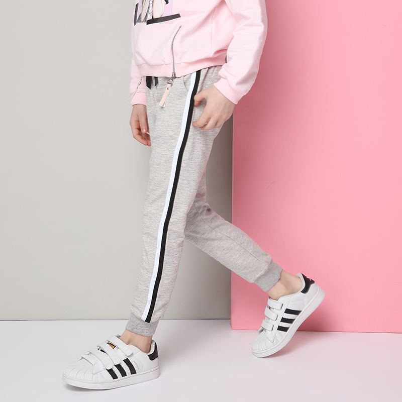 Children's wear 2018 Autumn new trousers Girls 'trousers Sports casual stripes Children's bound trousers цена