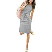 Summer Casual Dress Women Sleeveless Cotton Slim Pencil Dresses Sexy Work Office Dress Slim Fit Robe Mujer Pockets J2218