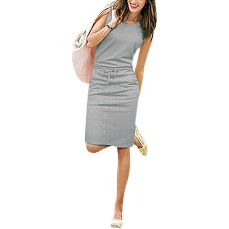 466b7f62e6 Vestidos de verão Casuais Mulheres de Vestido Sem Mangas de Algodão Fino  Lápis Sexy Escritório Trabalho Vestido Slim Fit Robe Mujer Bolsos J2218