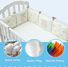 Infant Crib Bumper Bed Protector Baby Kids Cotton Cot Nursery bedding 6 pc Cotton Beige bear Pillow Cushion for boy and girl