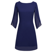 Women Dress Ladies Short Formal Cocktail Party Chiffon Double layer 3/4 split sleeves Casual Plus size Fashion