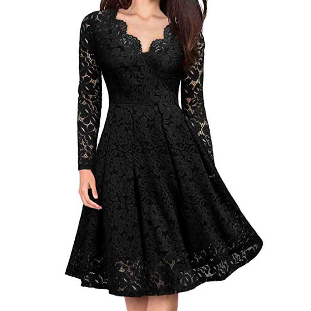 Winter Party Dress Women Clothes 2019 Gothic Long Sleeve Lace Dresses Woman Party Night V Neck Black Dress vestidos