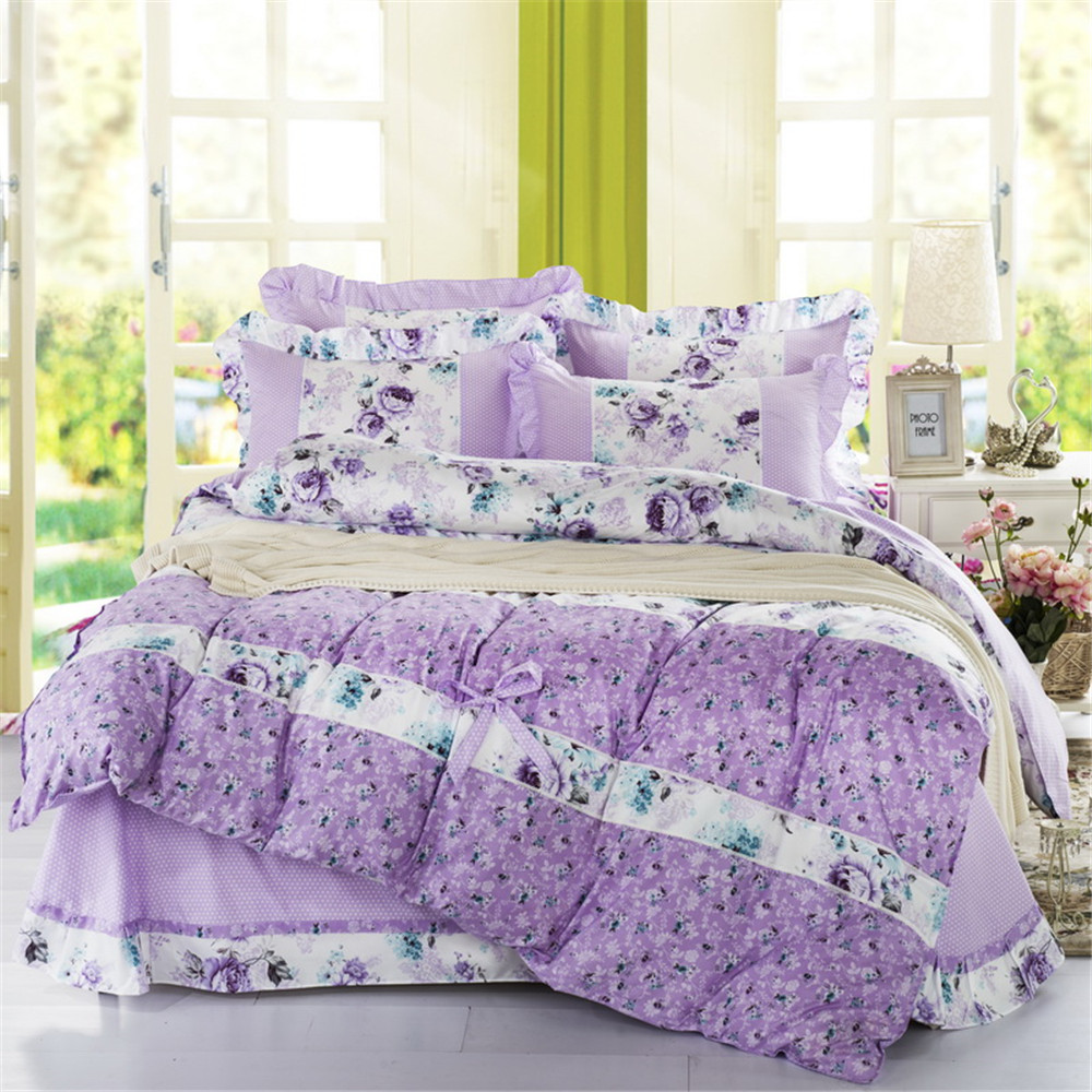 Girls purple bedding - Purple Color Bedding Sets Twin Queen Size Quilt Duvet Cover Pillowcase Bed Sheet 4pcs Bedroom Girls Home Textiles Bedclothes