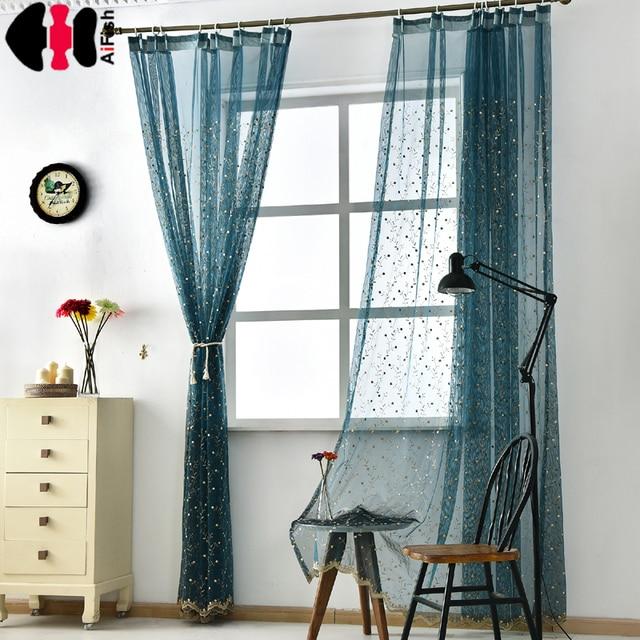 vrolijke geborduurde dakranden luxe paars pure gordijn tule volant blauwe gordijnen voor woonkamer bruiloft gordijnen blauw