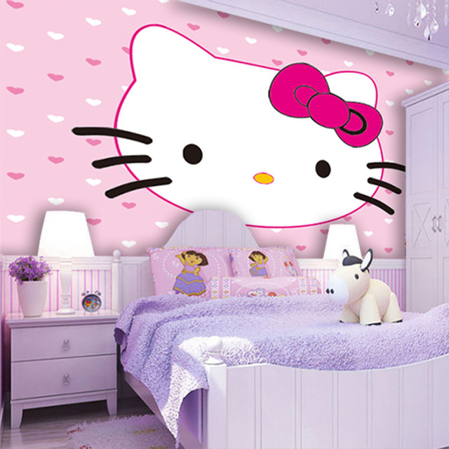 Lovely kitty cat wallpaper custom photo wallpaper cartoon wall mural pink girl 39 s room waterproof - Decoration hello kitty pour chambre bebe ...