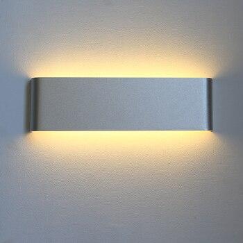 Simple LED wall lamps aluminum alloy bedroom bedside lamp living room background wall lights black silve wall lights ZA LU1030