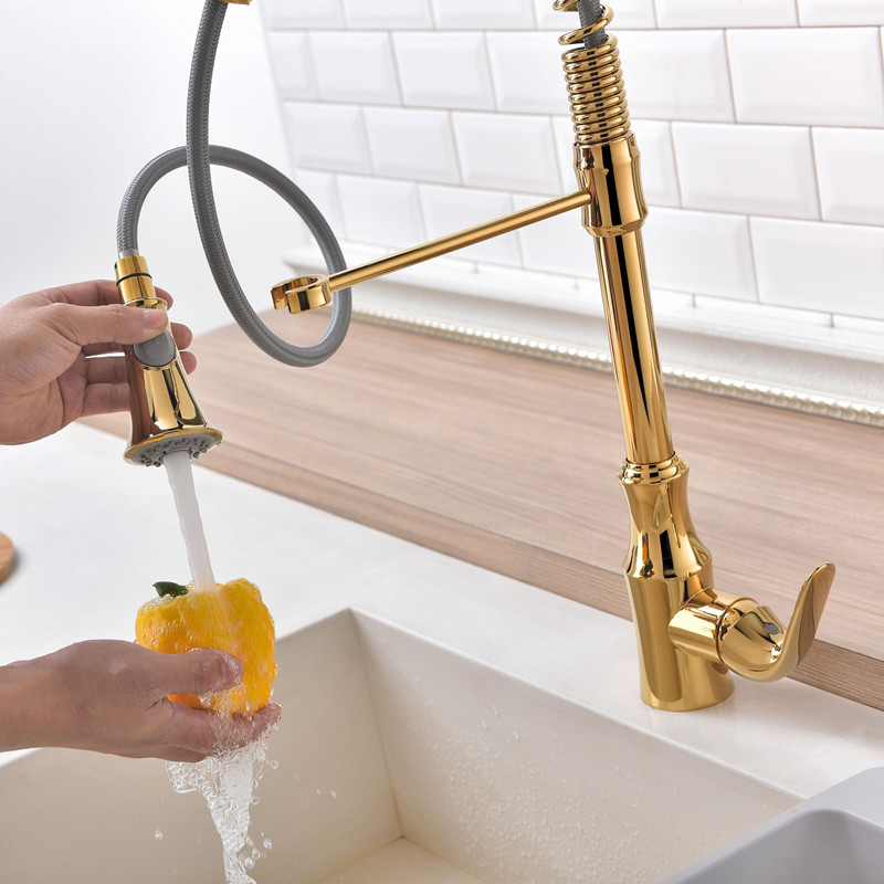 Single handle Gold kitchen faucet pull down kitchen mixer with spray sink mixer hot & cold kitchen sink taps gold kitchen tap