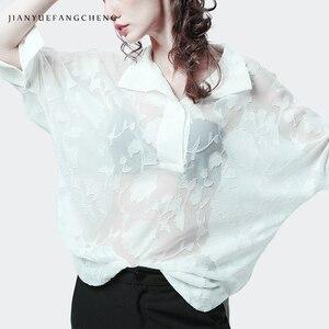 Image 2 - פרספקטיבה ארוך פרחוני חולצת רשת חולצה לנשים בתוספת גודל תורו למטה צווארון חולצות רפוי סקסי נשי קיץ חולצות