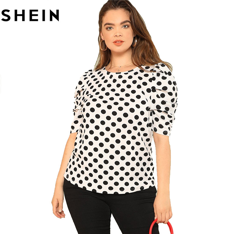 SHEIN Black And White Polka Dot Puff Sleeve Round Neck Plus Size Tops 2018 Summer Casual Office Lady Half Sleeve Elegant Blouses 5