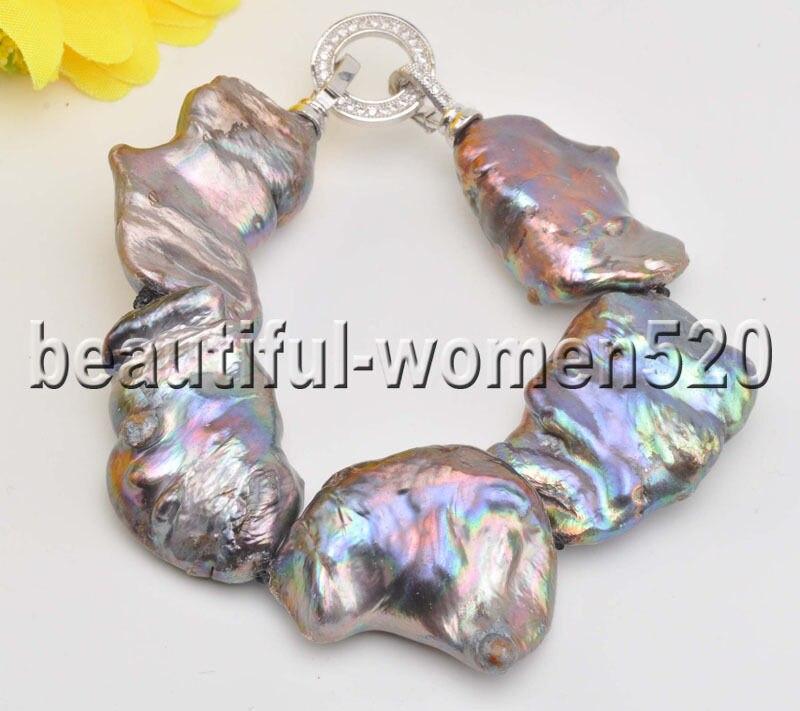 Z8455 33mm Bracelet de perles de renaissance BAROQUE noir KESHI CZ 8 pouces