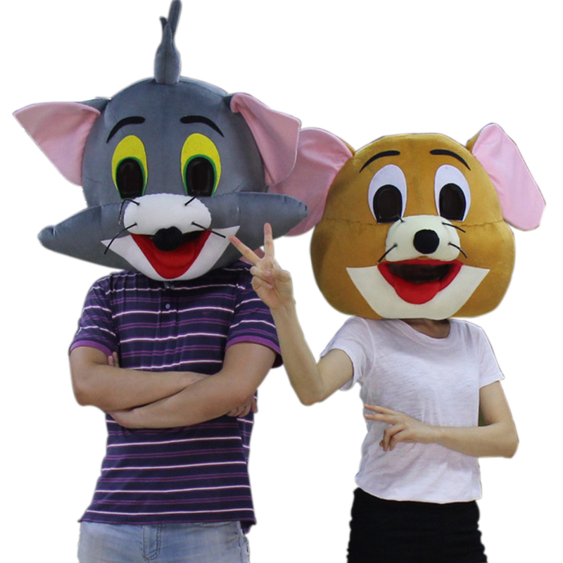 Tom Cat And Jerry Mouse Mascot only head without Clothing for adult fancy party or Lovers romance Festival with Free shipping ...
