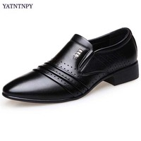 YATNTNPY Man Leather Shoes Pointed Toe Oxfords Fashion Man Dress shoes Summer Breathable Hollow Black Business wedding shoes