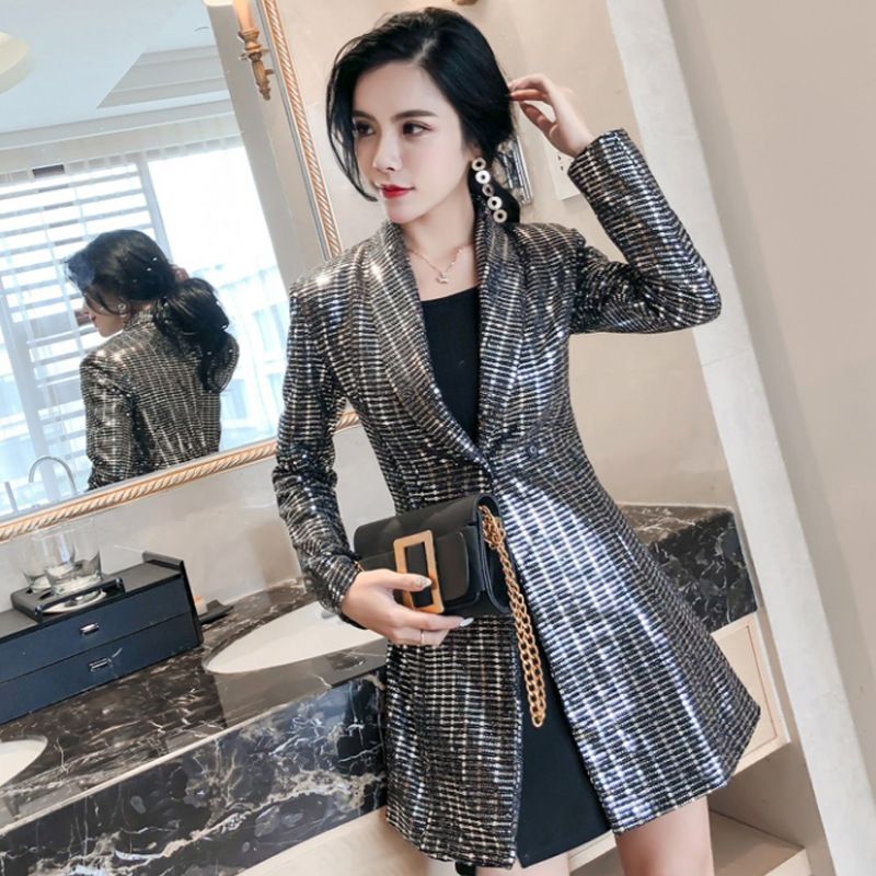Detail Feedback Questions about Spring New Women Bling Sequined Party Long  Blazer Dress Elegant Slim Fit Lapel Collar OL Work Suit Female Jacket Coats  on ... b596b3d146db