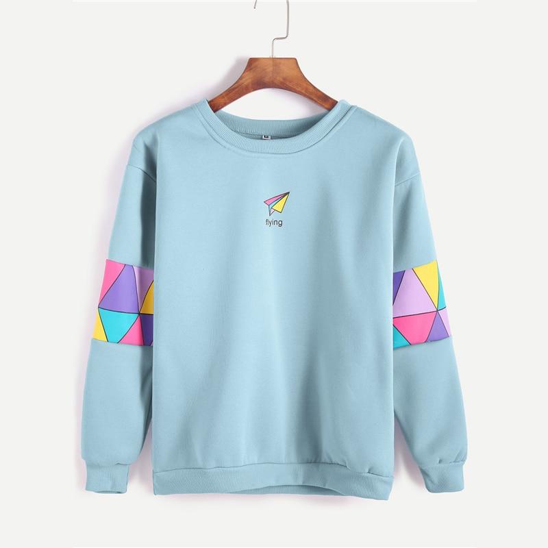 Pale Blue Patchwork Print Letter Geometric Sweatshirt For Women
