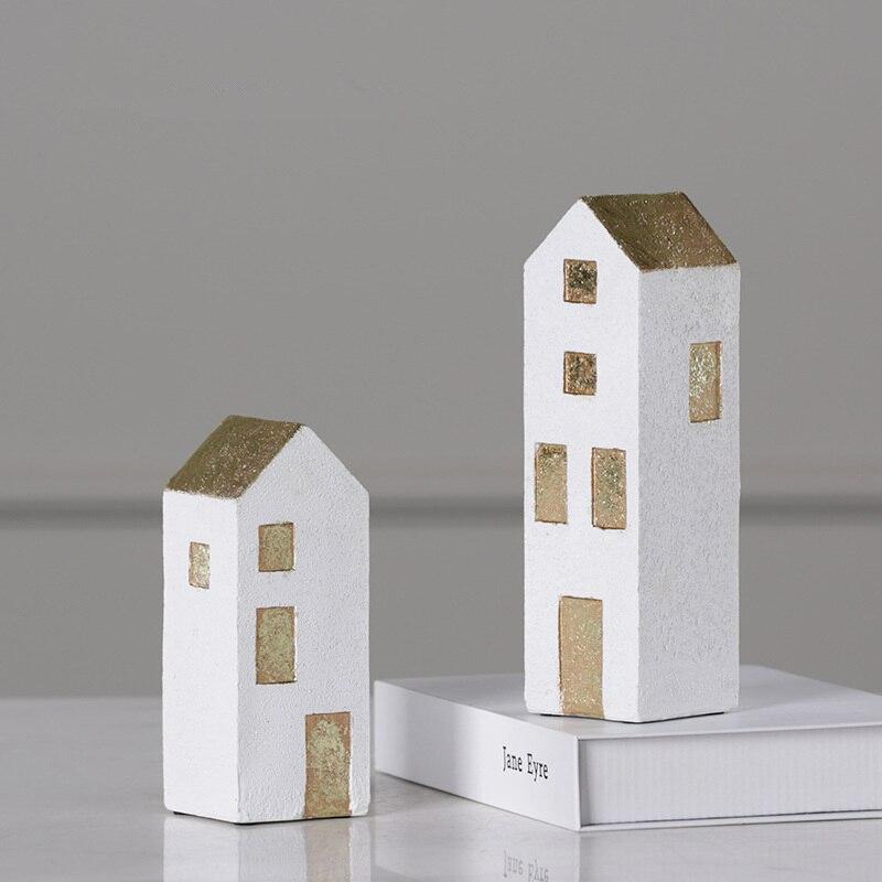 Modern Simple White Building Resin Statue Model Creativity Home Decoration Figurine Desktop Crafts Sculpture 121
