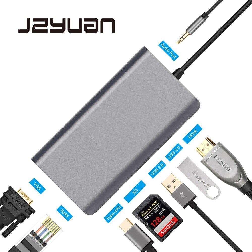 JZYuan USB C концентратор USB C к HDMI 4 К VGA Ethernet PD Thunderbolt 3 адаптер для Macbook Pro samsung s9 huawei P20 Pro USB HUB 3,0
