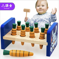 Wooden Rabbit Knock And Pull Radish Game For Children Kids Educatonal Puzzle Play Hit Hamster Toys Gift