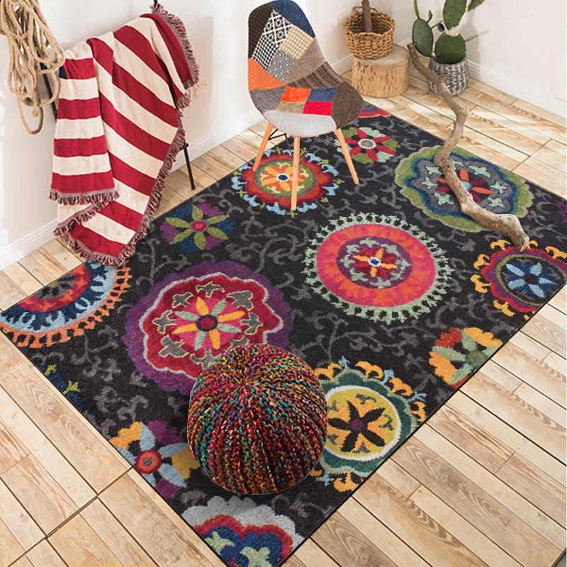 Vintage abstract ethnic style floral black Bedroom carpet  customization Living room bathroom mat non slip floor mat velvet  rugMat