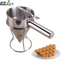 Stainless Steel Cupcake Waffle Batter Dispenser Funnel Pancake Maker Helper With Rack Home Kitchen DIY Baking Tools LQZ2767