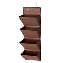 Best 4 Tier Wall Door Hanging Organiser Storage Rack Bag Cloth Wardobe Shoe Pocket Brown
