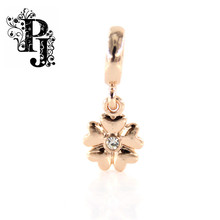 New Endless Jewelry Charm White Heart Flower Rose Gold  Dangle Charm for Endless Bracelet SJSB1310