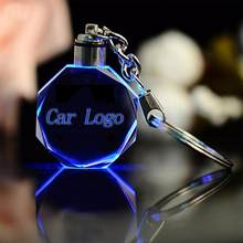 1pcs LED Cut Glass Keychain Car Logo Keychain Hand Carved Calendar Highlighted for Audi VW Benz Ford shining Keyrings(China)