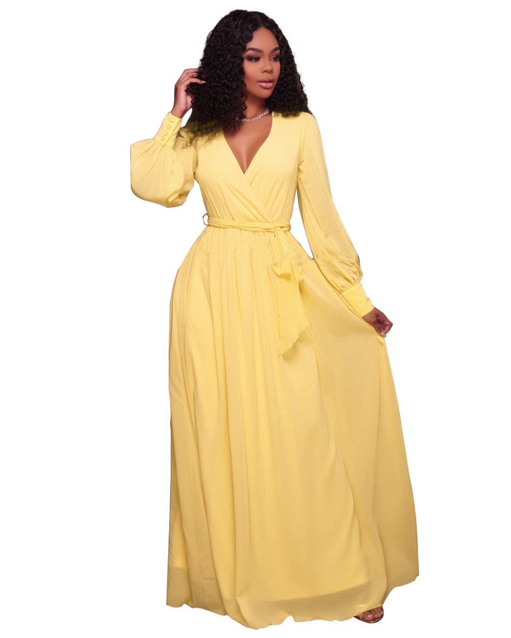 Aletterhin Long Sleeve Sashes Maxi Dresses Women Elegant Yellow Pink V Neck Ruffles A Line Loose
